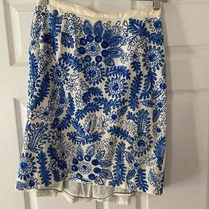 Anthropologie blue embroidered and sequin skirt